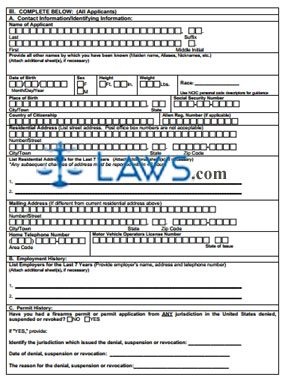 Form  Pistol Permit Application