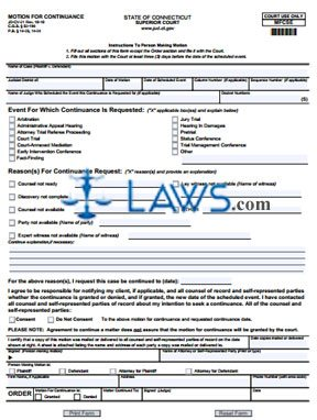 Form JD-CV-21 Motion for Continuance