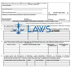 Affidavit Regarding Children Pursuant to §14-13-209, C.R.S.