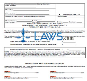Affidavit to Support Claim for a Breach of the Warranty of Habitability