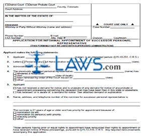 Application for Informal Appointment of Successor Personal Representative