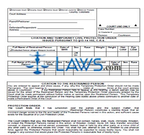 Citation and Temporary Civil Protection Order Issued Pursuant to &sect13-14-102, C.R.S.