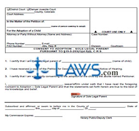 Consent to Adoption - Sole Legal Parent