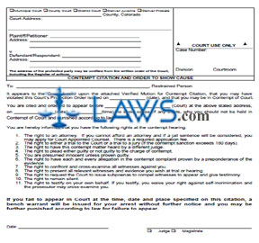 Contempt Citation & Order to Show Cause