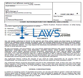 Court Authorization for Financial Disclosure