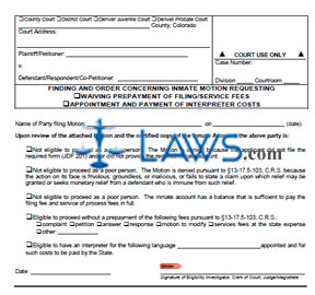 Finding and Order Concerning Inmate Motion