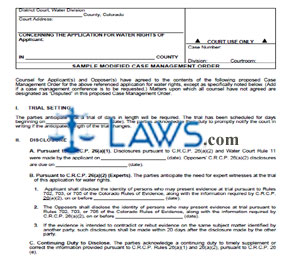 Form 1 - Sample Modified Case Management Order