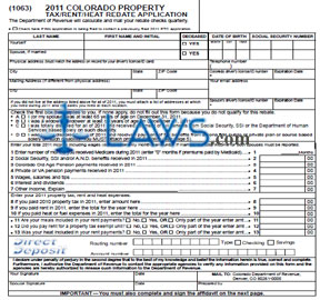Form 2011 Colorado Property Tax-Rent-Heat Rebate Application
