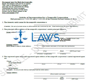 Form Articles of Incorporation for Nonprofit Corporation (Sample)