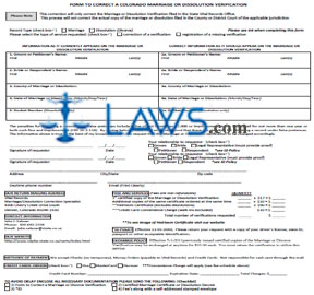 Form CO Correct Or Change Marriage Certificate