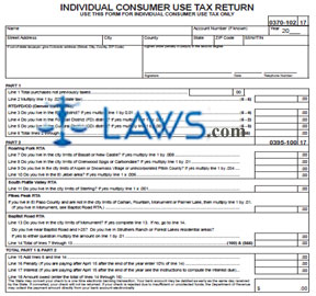 Form DR 1306 Individual Consumer Use Tax Return