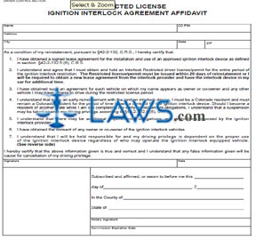 Form DR 2058 Restricted License  Ignition Interlock Agreement Affidavit