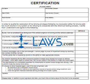 Form DR 2598 Certification