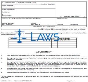 Form JDF 1504 Admission of Paternity