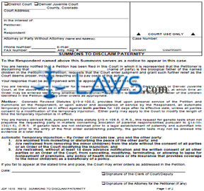 Form JDF 1515 Summons to Disclaim Paternity - Colorado Forms ...
