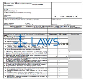 Printables Colorado Child Support Worksheet form jdf 1820m colorado forms laws com instructions worksheet a child support obligation sole physical care 1820m