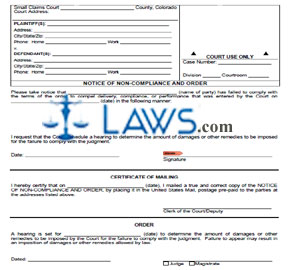 Form JDF-249 Notice of Non-Compliance and Order