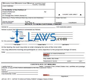 Form JDF 422 Notice to Non-Custodial Parent
