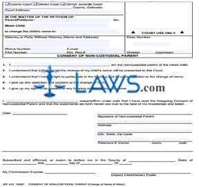 Form JDF 423 Consent of Non-Custodial Parent