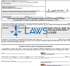 Form JDF 714 Affidavit Regarding Due Diligence and Proof Publication