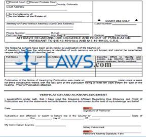 Form JDF 714 Affidavit Regarding Due Diligence and Proof of Publication