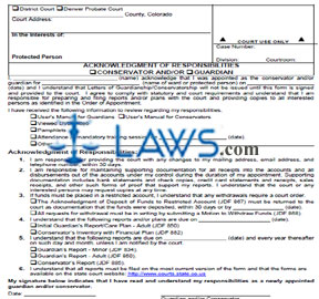 Form JDF 800 Acknowledgment of Responsibilities