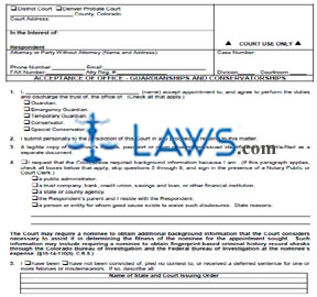 Form JDF 805 Acceptance of Office