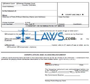 Form JDF 826 Consent or Nomination of Minor