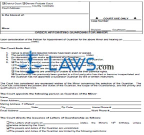 Form JDF 827 Order Appointing a Guardian for Minor