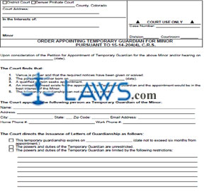 Form JDF 8281 Order Appointing Temporary Guarding for Minor