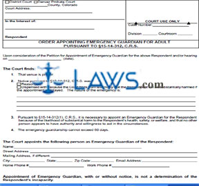 Form JDF 843 Order Appointing Emergency Guardian for Adult