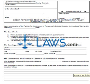 Form JDF 8461 Order Appointing Temporary Substitute Guardian for Adult