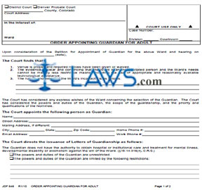 Form JDF 848 Order Appointing Guardian for Adult