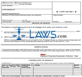 Form JDF 853 Notice of Death