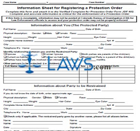 Information Sheet for Registering a Protection Order