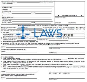 Motion & Order for Interrogatories (Long Form)