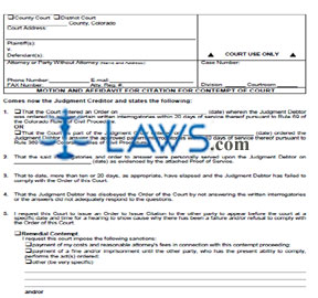 Motion and Affidavit for Citation for Contempt of Court