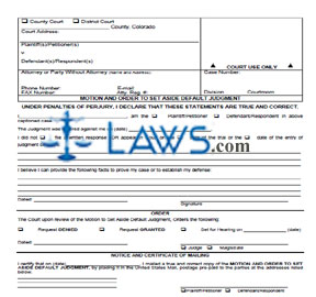 Motion to Set Aside Default Judgment - Colorado Forms - | Laws.com