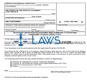 Notice of Adoption Proceeding and Summons to Respond