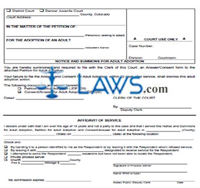 Notice & Summons for Adult Adoption - Colorado Forms - | Laws.com