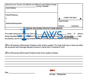 Order Vacating Protection Order