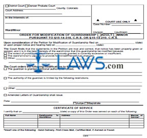 Order for Modification of Guardianship