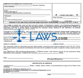 Order for an Evaluation and Report Pursuant to 14-10-127
