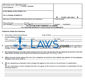 Petition for Change of Name to Obtain Identity-Related Documents