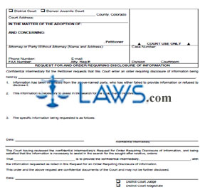 Request for Order Requiring Disclosure of Information