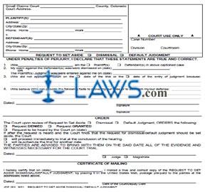 Request to Set Aside Dismissal/Default Judgment