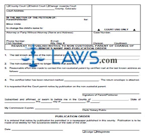 Request to Publish Notice to Non-Custodial Parent of Change of Minor's Name and Publication Order