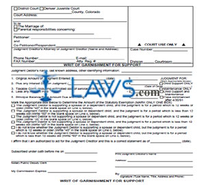 Writ of Garnishment for Support