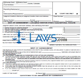 Writ of Garnishment Judgment Debtor other than Natural Person