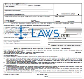 Writ of Garnishment with Notice Exemption & Pending Levy